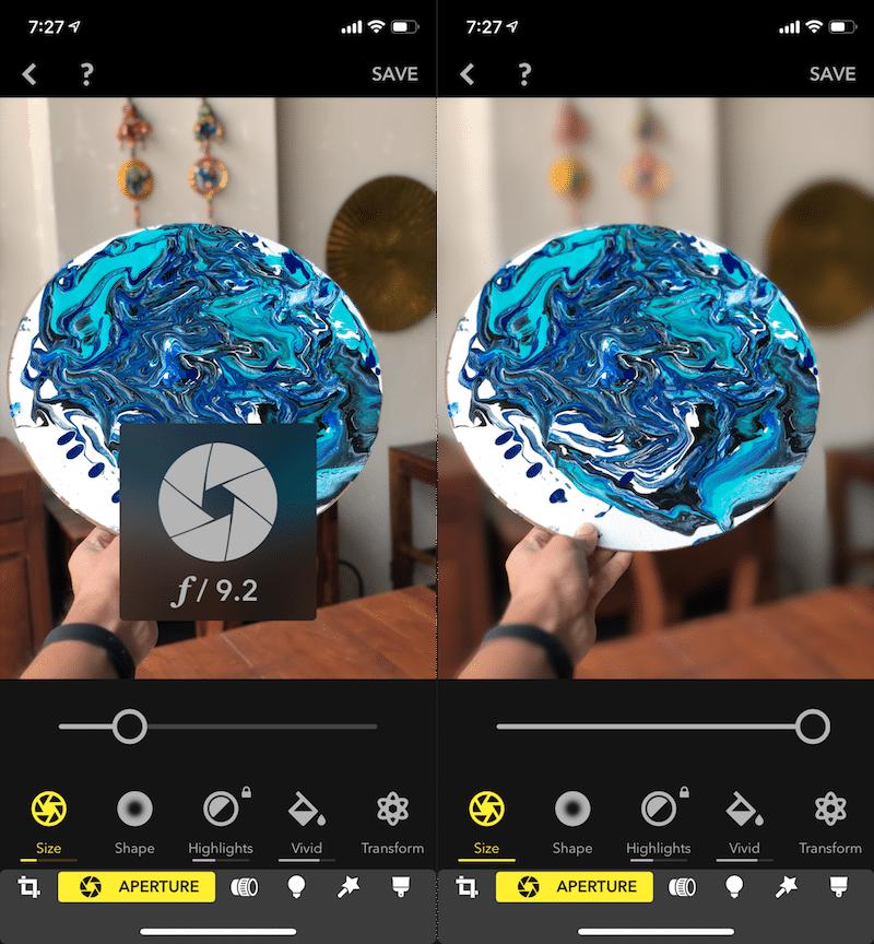 control de efecto de profundidad del iPhone XS