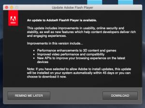 Adobe Update popup