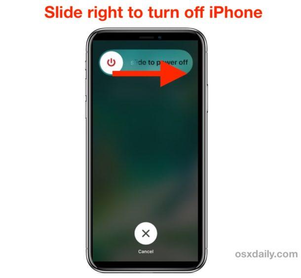 Apague el iPhone deslizando en Deslizar para apagar