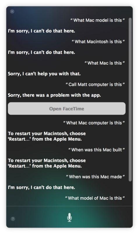 Hey Siri trabajando en Mac diciendo perdon