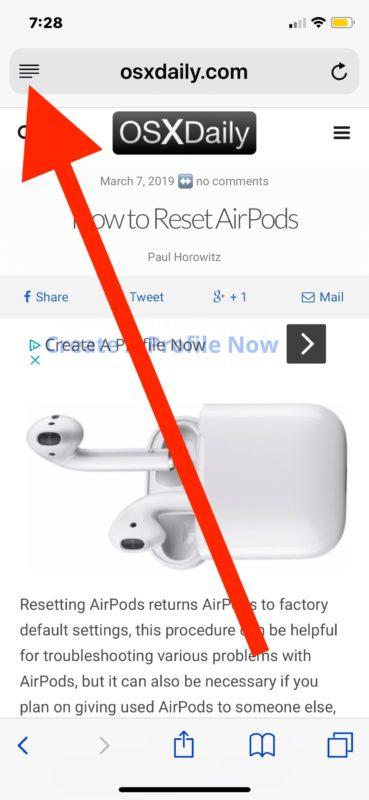 Cómo habilitar el modo de lector automático en Safari para iOS