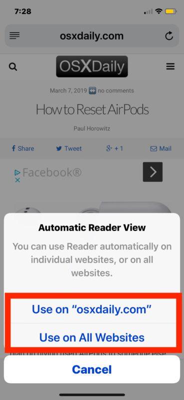 Cómo habilitar el modo de lector automático de Safari en iOS