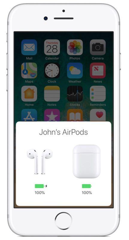 Comprueba la duración de la batería de AirPods desde iPhone
