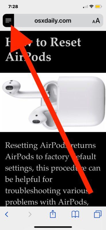 Cómo deshabilitar la Vista del lector automático en Safari para iOS