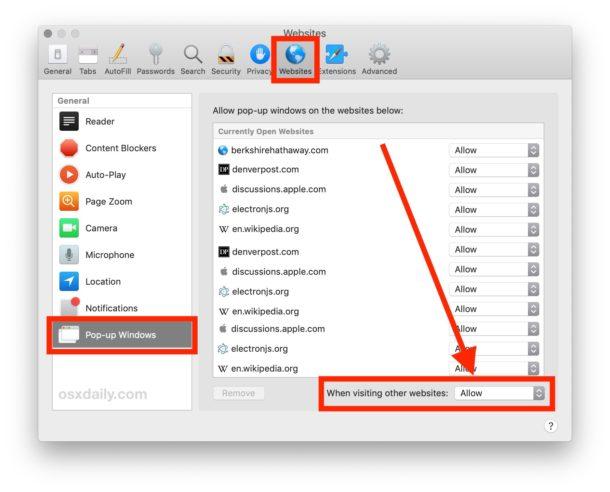 Cómo habilitar todas las ventanas emergentes en Safari para Mac
