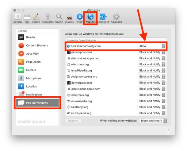 Habilitar ventanas emergentes para un sitio web específico en Safari para Mac