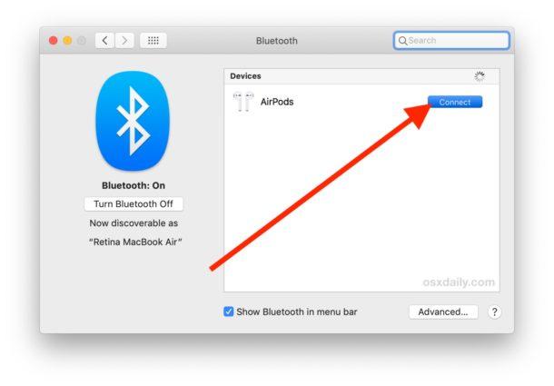 Conecta AirPod a Mac con Bluetooth