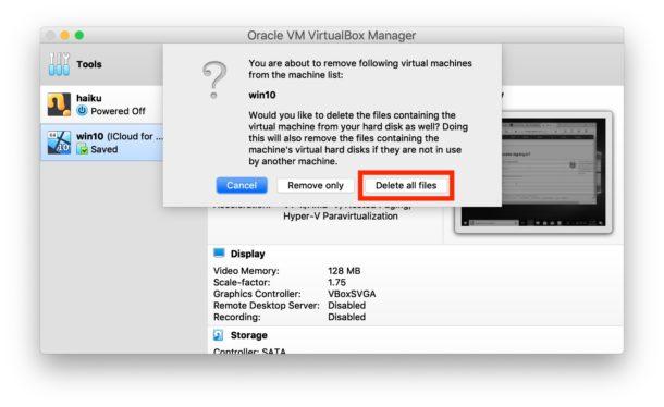 Cómo eliminar una máquina virtual de VirtualBox