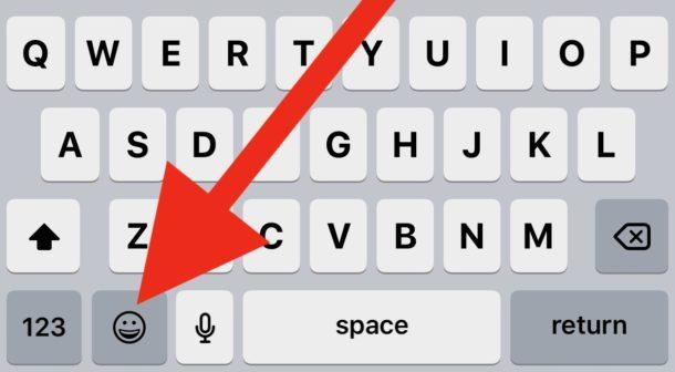 El botón Emoji en el teclado del iPhone o iPad.