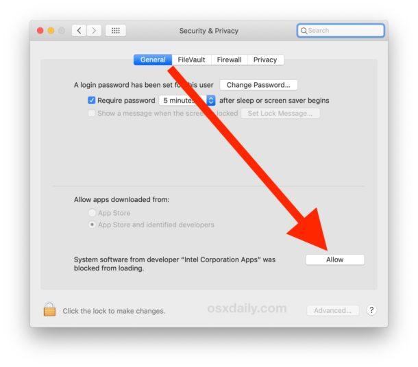 Permitir la instalación de Intel Power Gadget en Mac