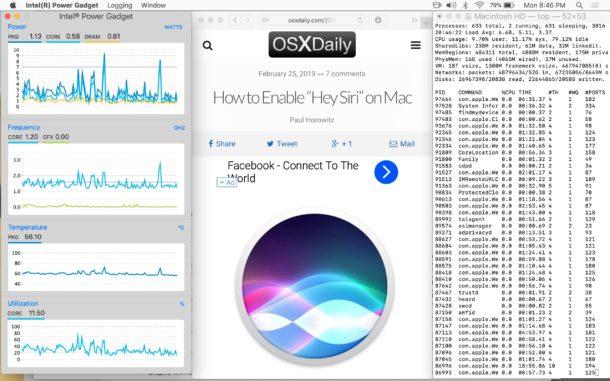 Intel Power Gadget que se ejecuta junto con el navegador web y la ventana de Terminal