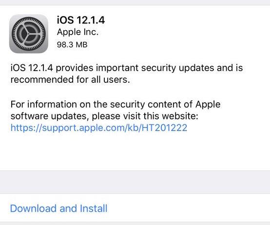 Actualización de iOS 12.1.4