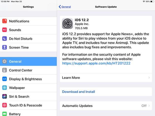 Actualización de iOS 12.2