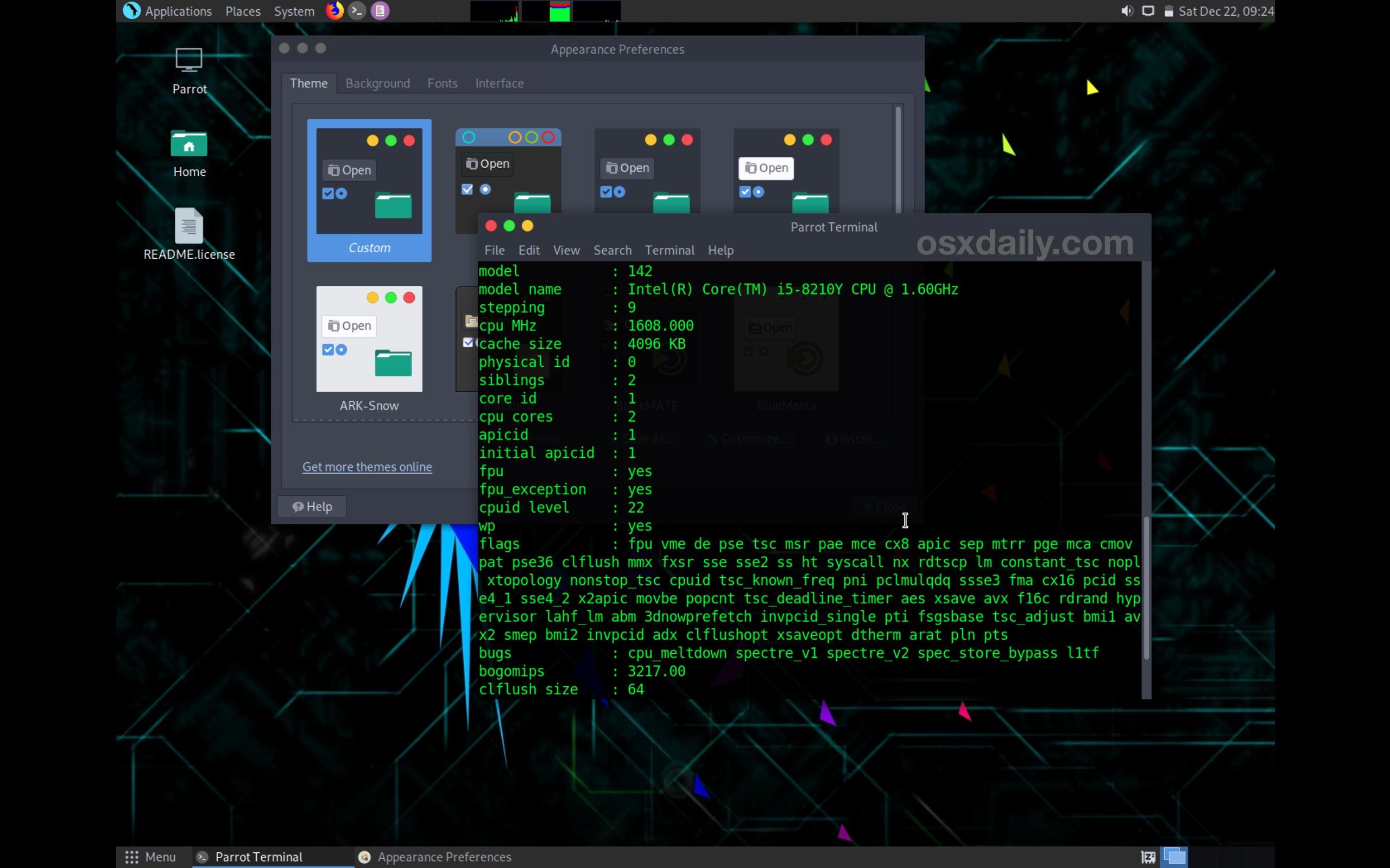 ParrotSec Linux se ejecuta en Mac en modo directo
