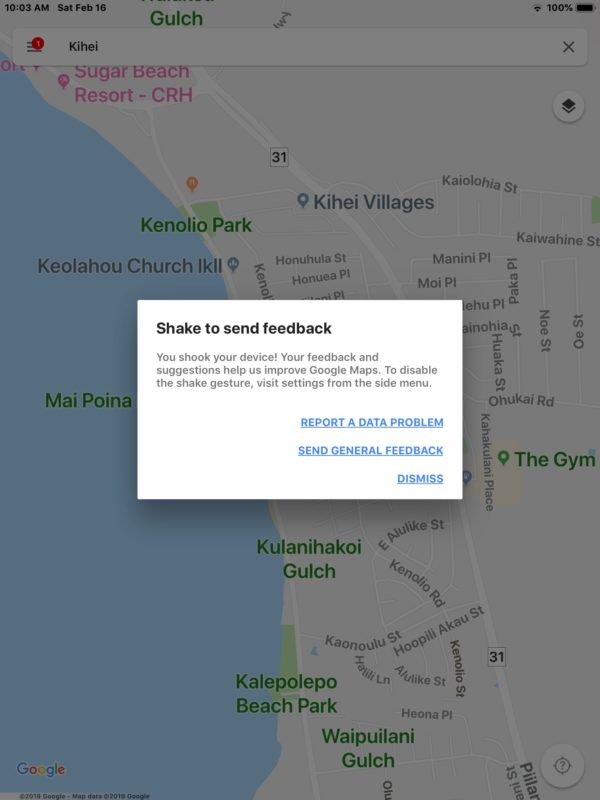 Agitar para enviar comentarios en Google Maps para iOS