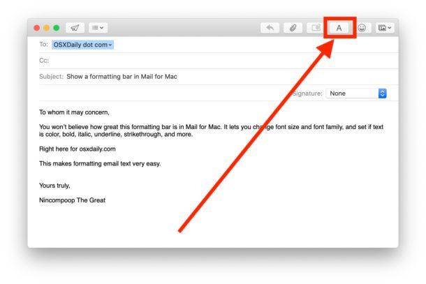 Cómo mostrar y usar las opciones de formato de fuente en Mail for Mac