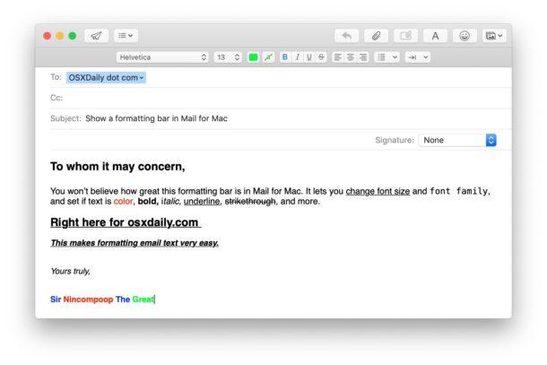 Uso de las opciones de formato de correo electrónico en Mail for Mac