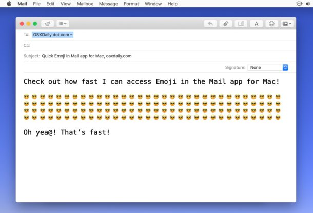Añadiendo Emoji a un correo electrónico en Mac