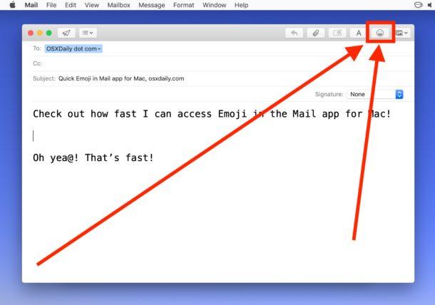 Cómo agregar Emoji en Mail para Mac con el botón Emoji
