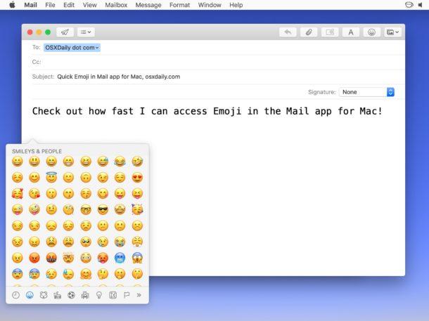 Agregar Emoji desde el botón Emoji en Mail for Mac