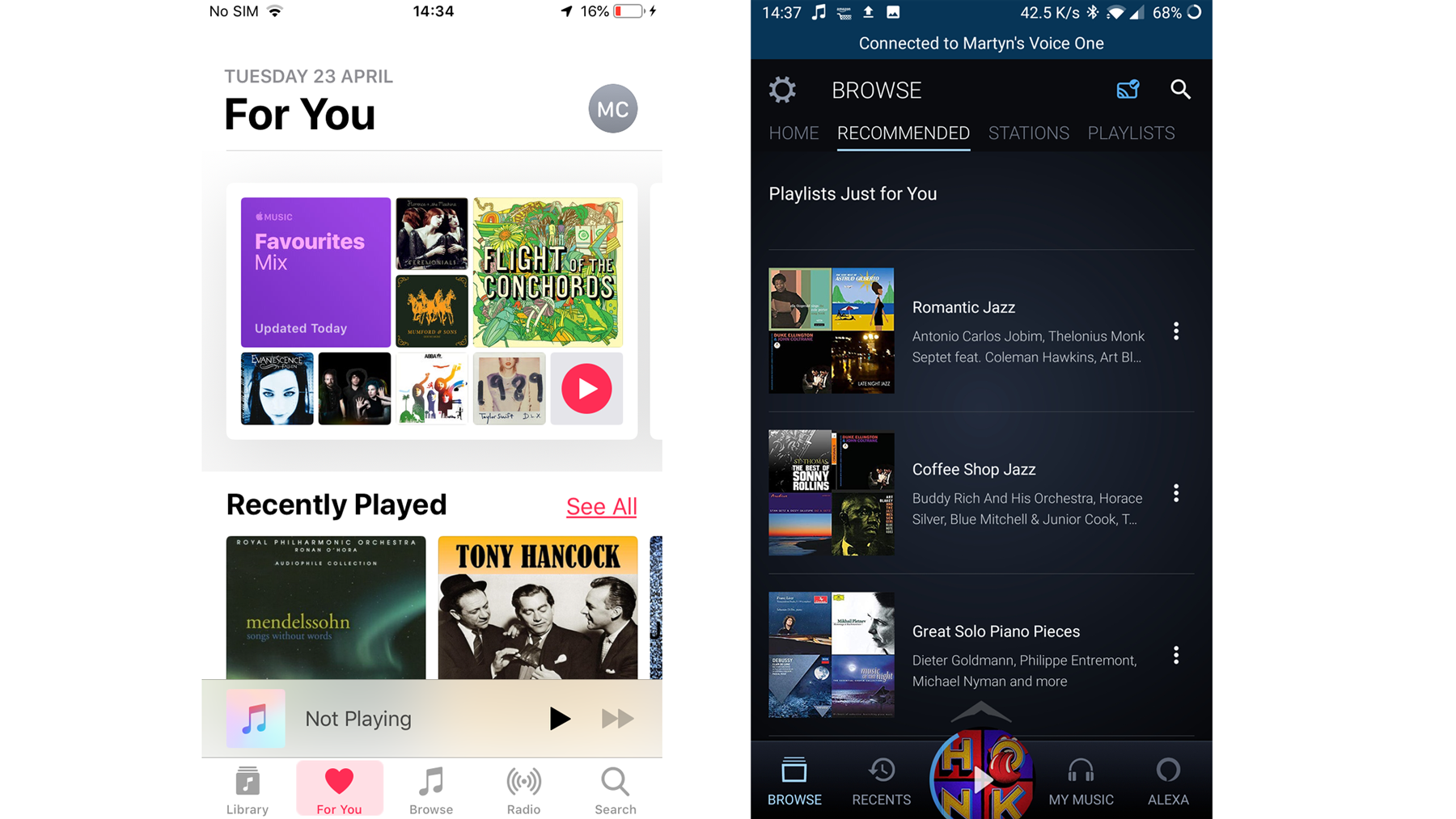Apple Music vs. Amazon Prime Music: Descubrimiento musical