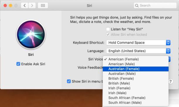 Siri voz opciones de género y acento en Mac