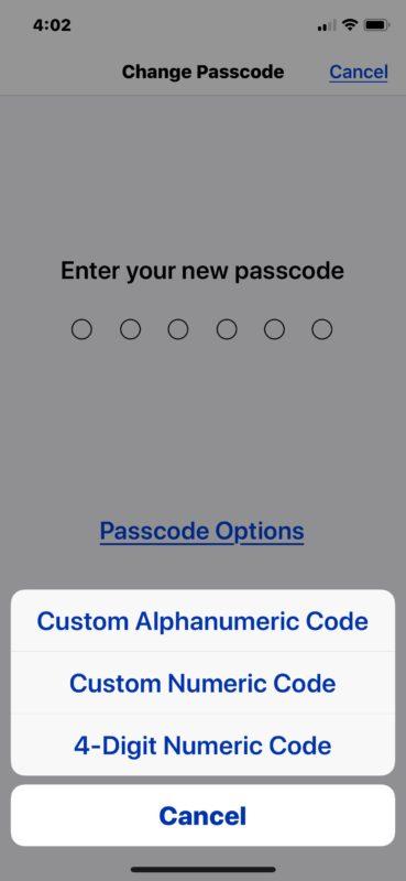 Cómo cambiar a una contraseña o código de acceso de diferente longitud en iPhone o iPad