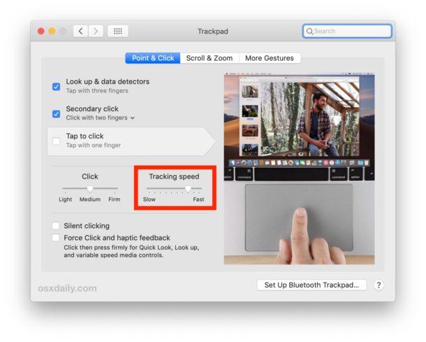 Cómo cambiar la velocidad de seguimiento del Trackpad en Mac