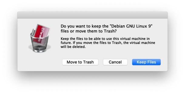 Elimina la máquina virtual en Parallels.