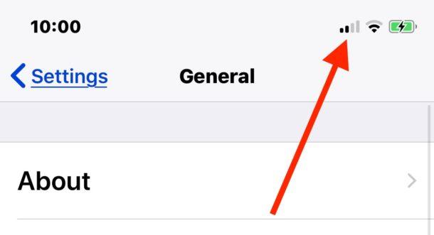 Las barras indicadoras de señal de recepción celular del iPhone