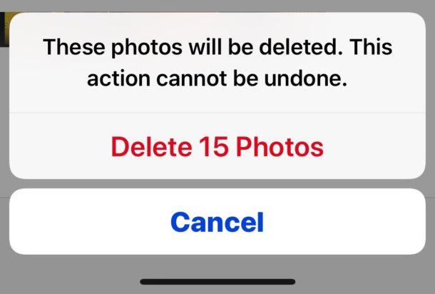 Confirmar para eliminar las fotos eliminadas recientemente para borrar el almacenamiento de fotos