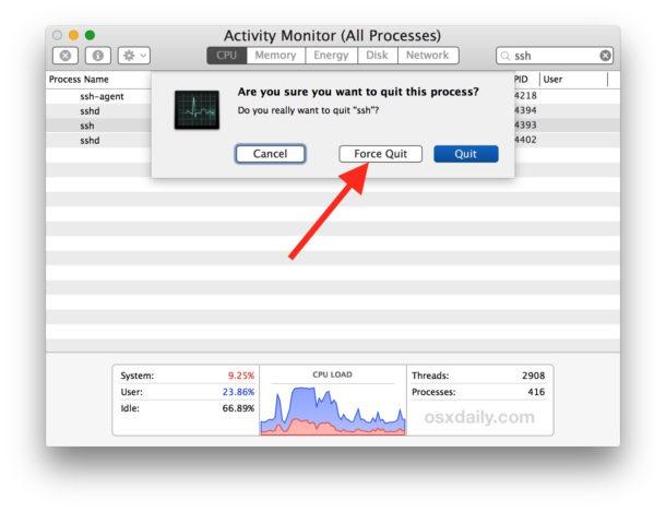 Cierre la sesión del usuario ssh terminando el proceso de usuario ssh
