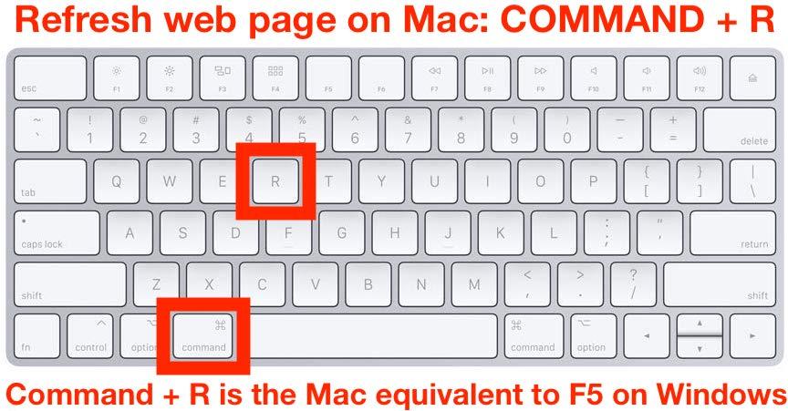 Cómo actualizar la página web en Mac con F5 equivalente Comando R