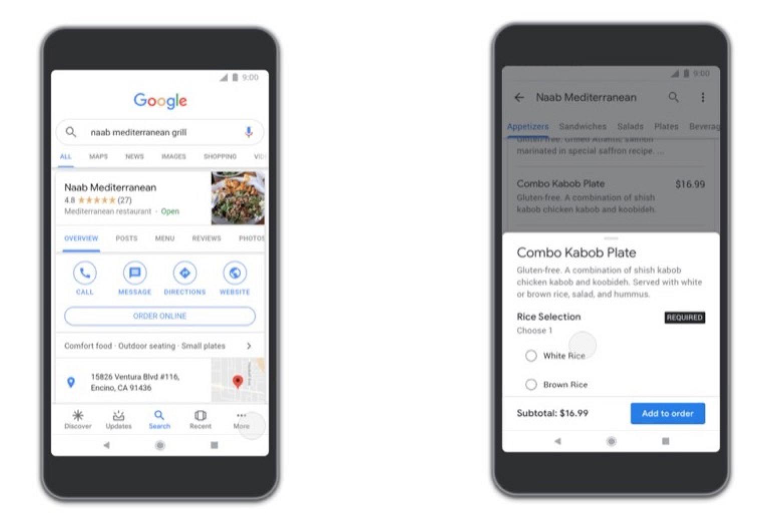 Características de pedido de comida ahora disponibles en las aplicaciones móviles de Google