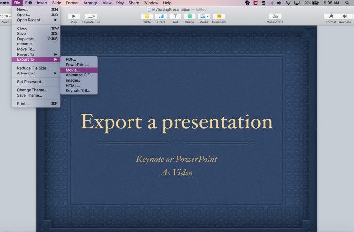 Cómo exportar una presentación en Keynote o PowerPoint como video