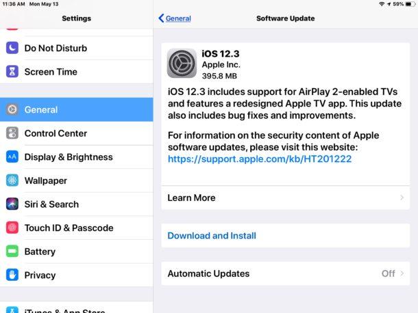 Actualización de iOS 12.3 para iPhone y iPad