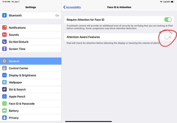 Cómo activar o desactivar las funciones de atención consciente en iPhone o iPad