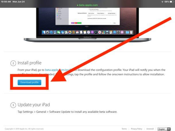 Descargue e instale el perfil beta para iPadOS 13
