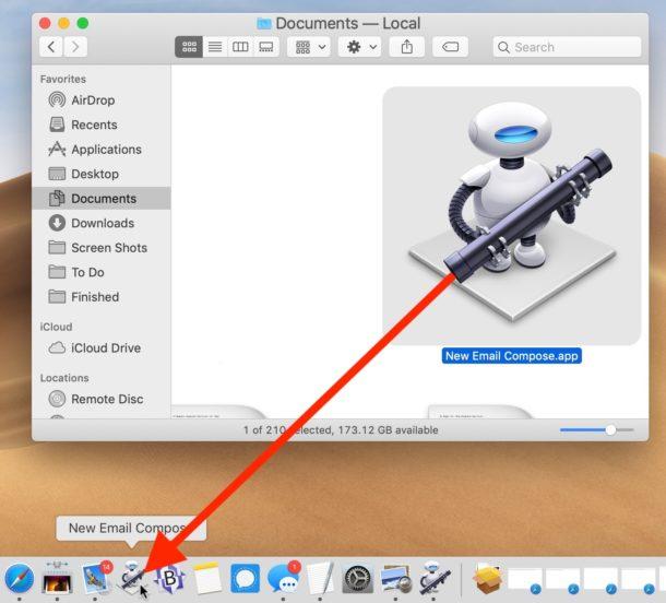Arrastre el acceso directo de Automator al Dock para un nuevo y fácil acceso de redacción de correo electrónico