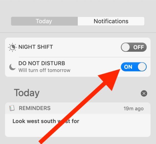 Cómo habilitar el modo No molestar desde el Centro de notificaciones en Mac
