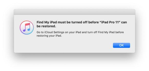 Find My iPhone debe estar desactivado antes de restaurar iOS o iPadOS