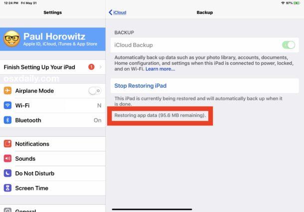 Cómo comprobar el progreso de la restauración de iCloud en iOS