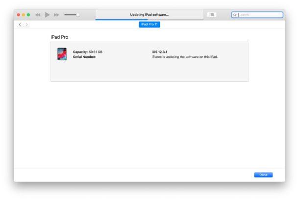 La instalación de iPadOS 13 beta y iOS 13 beta a través de iTunes muestra una barra de progreso