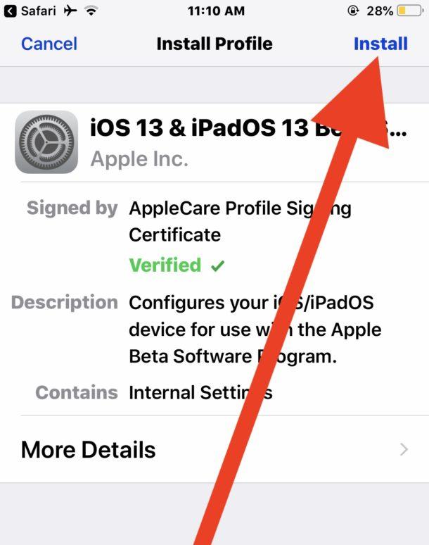 Instalar el perfil de configuración beta pública de iOS 13
