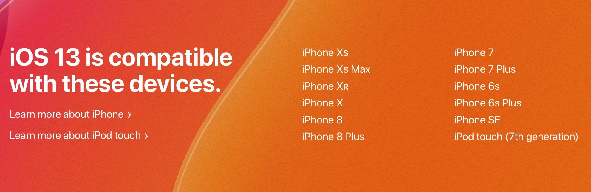 Modelos de iPhone e iPod compatibles con iOS 13