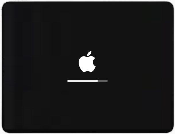 iPad con pantalla de logotipo de Apple y barra de progreso