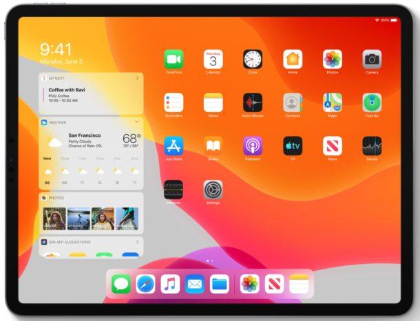 Pantalla de inicio de iPadOS 13