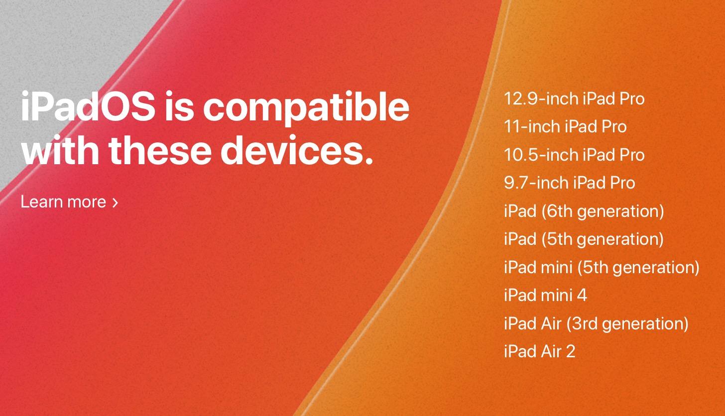 Modelos de iPad compatibles con iPadOS