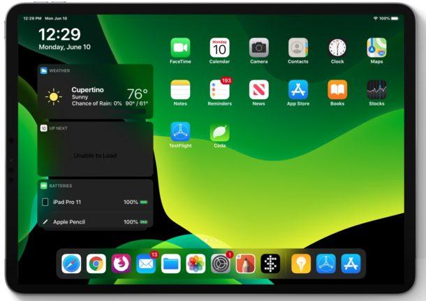 Pantalla de inicio de iPadOS 13 en iPad Pro