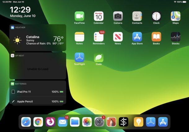 Captura de pantalla del iPadOS iOS 13 de la pantalla de inicio